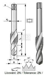 Závitník HSS kombinovaný s vrtákem M8 PN 8/1371 BUČOVICE 133080-Kombinovaný závitník