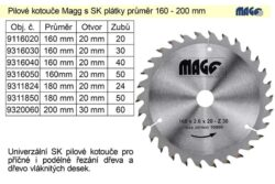 MAGG 9216050 Pilový kotouč HOBBY SK 160x2,6x20 50z