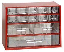 MARS 6761 Skříňka na nářadí 10M červená-Skříňka MINI 10xA, 2xB, 1xC červená
