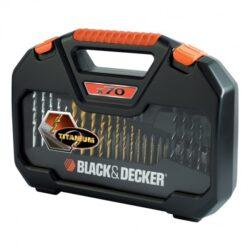 BLACK DECKER A7184 Sada vrtáků a nástavců 70dílná-Sada vrtáků, bitů a oříšků, 70 dílů - A7184