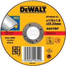DEWALT DT42240 Kotouč řezný 115x1mm-Řezný kotouč na nerez, plochý 115 x 1 mm