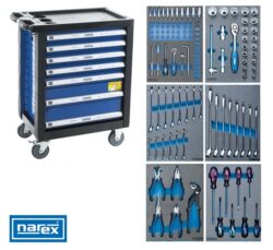 NAREX 443000994 Montážní skříň pojízdná (7 zásuvek) s nářadím 117ks (6modulů)-Montážní skříň pojízdná (7 zásuvek) s nářadím 117ks (6modulů)