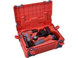 EXTOL 8898311 Sada nářadí šroubovák 12V + úhlová bruska 125mm v kufru-Sada nářadí šroubovák 12V + úhlová bruska 125mm v kufru