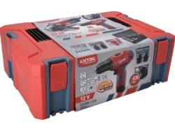 EXTOL 8898311 Sada nářadí šroubovák 12V + úhlová bruska 125mm v kufru(7919652)
